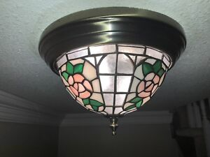 3 Stained Glass -  two light ceiling fixtures
