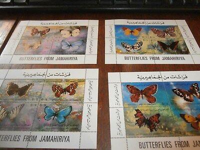 4 x MNH JAMAHIRIYA Butterflies MINATURE SHEETS of 4 STAMPS ***SALE***(4)