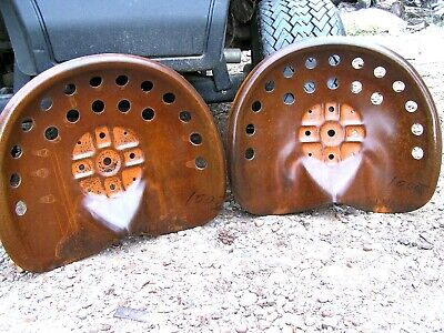 Two Steel Tractor Seats Rust Finish Metal Farm Or Bar Stool Tops Pan Style