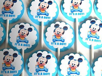 15 BABY MICKEY MOUSE IT'S A  BOY Cupcake Toppers Party Favors, Baby Shower 15 (Baby Mickeymouse)