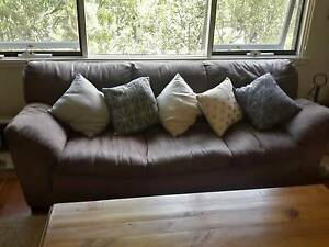3 seater dark brown super suede lounge and 2 matching armchairs Grays Point Sutherland Area Preview