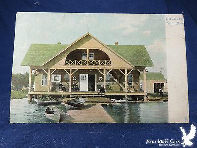 EARLY Duluth Yacht Club Litho PC Minn Wooden Boats Dock Raphael Tuck