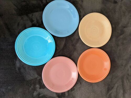 """Set Of 5 NEW Fiestaware Bistro Salad Plates Fiesta Small Plate 7.25"""" Mixed Color"""