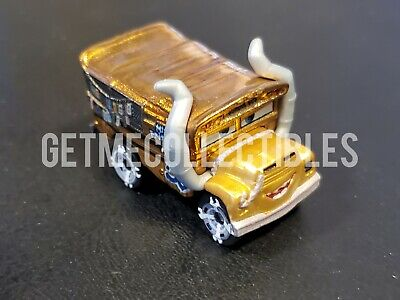 DISNEY PIXAR CARS MINI RACERS GOLDEN METALLIC MISS FRITTER BOX #59 FREE SHIP $15