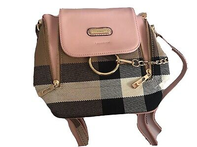 Burberry Prostrum Mini Pink Nova Check Backpack Gold Hardware