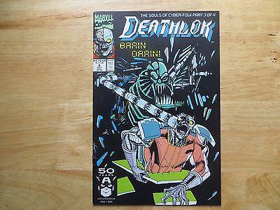 1991 MARVEL COMICS DEATHLOK  # 4 BRAIN DRAIN SIGNED ARTIST, DENYS COWAN, COA