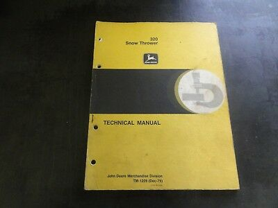 John Deere 320 Snow Thrower Technical Manual  Tm-1209