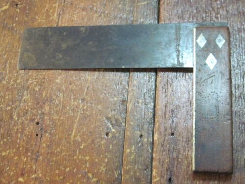 """ANTIQUE VTG INLAID BRASS 8"""" CARPENTERS WOOD HANDLE SQUARE WIDE BLADE 2 1/2"""" OLD"""