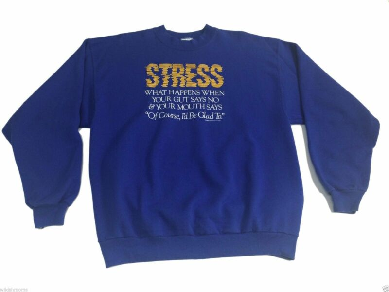VTG 80s (XL) STRESS Blue Crew Sweatshirt Humor Peacock Papers Typography Eat