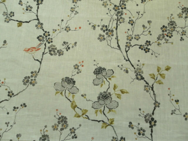 Sanderson Curtain Fabric MAIA 0.5m Cream/Charcoal Birds/Floral Linen Design 50cm