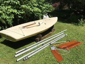 1970's Classic Laser Sailboat with 2 Sails