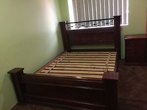 Wooden Queen size Bed with Bedside Lakemba Canterbury Area Preview