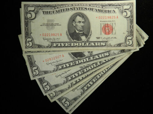 1963 $5 Star Note Red Seal Lincoln Dollars, Fine to VF US Currency