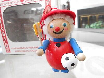 Steinbach Wood Wooden German Christmas Ornament SOCCER FAN with Tag and Box