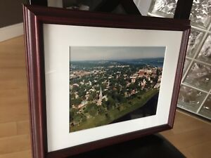 Framed aerial photo of downtown Fredericton