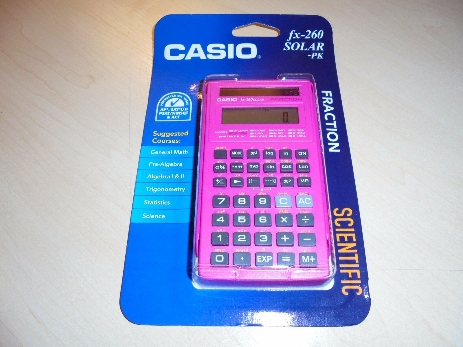 Casio FX-260 SOLAR Fraction Scientific, Pink, NEW!!!