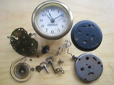 Vintage 1950 ingersoll clock face movement carriage keys spare parts mantel
