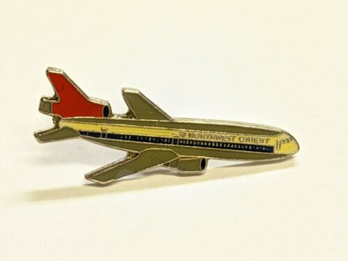 Vintage Northwest Orient Airlines McDonnell Douglas DC-10 Plane Pin Brooch