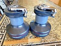 CLEAN PAIR OF LARGE HARKEN 53 2 SPEED SELF TAILING WINCHES