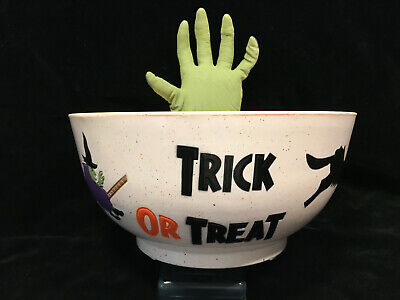 GEMMY HALLOWEEN ANIMATED HAND CANDY BOWL WITH 3 PHRASES - PREOWNED