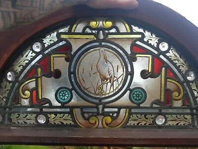 Antique Church chapel Castle stained Leaded Glass crescent Window liver bird 🦁