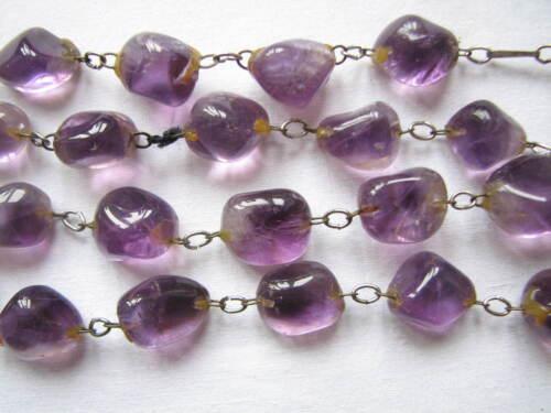Vintage Large Irregular Real Amethyst Beads Necklace