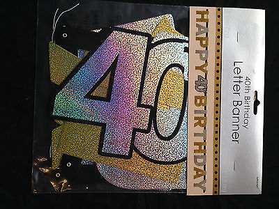 40th Happy Birthday Letter Banner Black Silver Gold Party Decorations Age 40