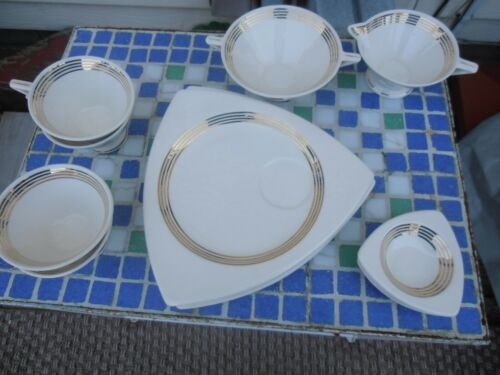 Vintage LOT 13 pc. Tricorne Streamline by Salem China Co deco dinnerware snack