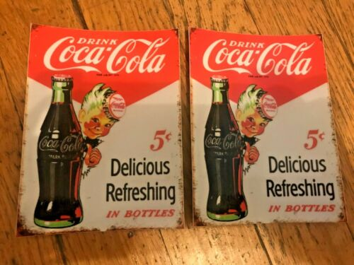 "Coca cola 2 sticker lot 5 cent Delicious Refreshing in bottles 4"" free shipping"