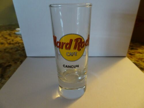Hard Rock Cafe Cancun Shot Glass double black circle and Black Lettering