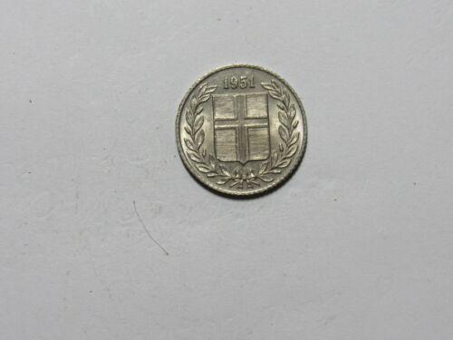 Old Iceland Coin - 1951 25 Aurar - Circulated, spots