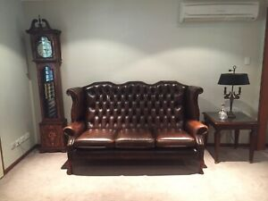 Beautiful high back Chesterfield leather lounge