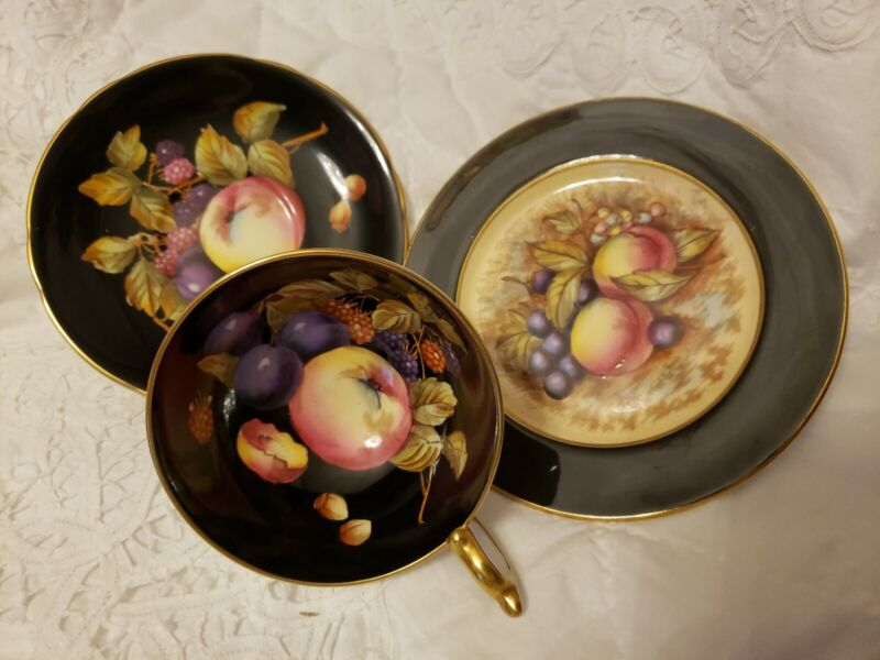 Beautiful Aynsley Black Trio Fruit Orchard--HAND PAINTEDTea Cup,Saucer and plate