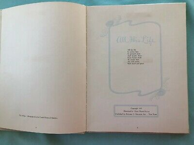 "Vintage Copyright 1957 ""All His Life"" Baby Boy Satin Record Baby Book Krueger"