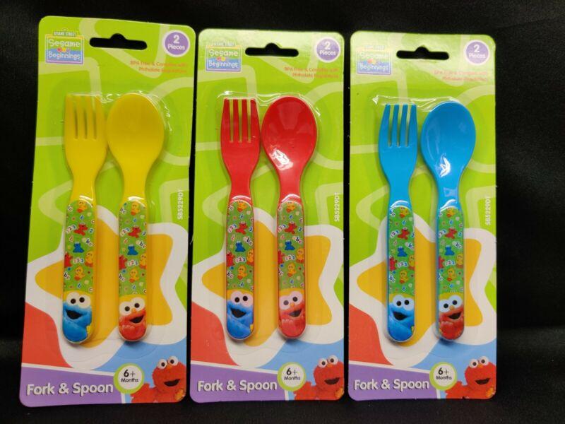 Baby Sesame Street Sesame Beginnings Utensils Fork and Spoon 3 Set