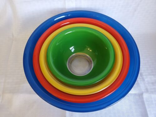4 Pyrex Corning Mixing Nesting Bowls Primary Clear Bottom! Blue Red Yellow Green