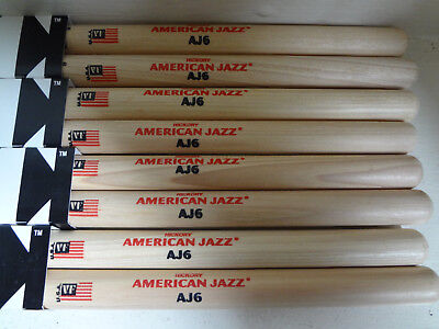 Vic Firth AJ6 drumsticks, new, 4 pairs, hickory, wood tip, American Jazz