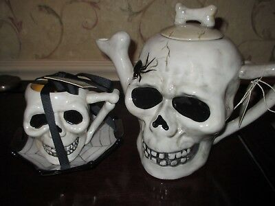 NWT BLUE SKY Large Skull/Skeleton Creepy Teapot, Cup & Saucer, Halloween, HTF!