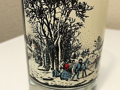 """Vtg ARBY`S Currier & Ives Holiday Drinking Glass 1981 """"Winter Pastime"""""""