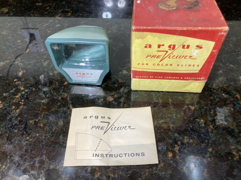 Vintage Argus Previewer Lit Color Slide Viewer W/ Original Box And Instructions