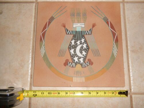 """VINTAGE MARIA AKEE INDIAN SAND PAINTING FATHER SKY SIGNED COLORS 12"""" X 12"""" AZ"""