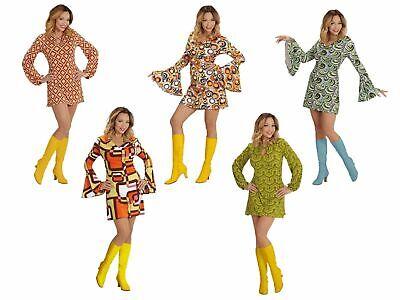 Minikleid Damen 60er 70er Jahre Hippie Schlager Trompetenärmel Kleid Siebziger