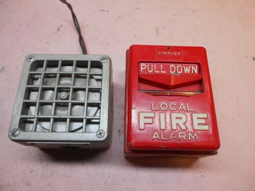 vintage pull down fire alarm pull station with vibratone horn