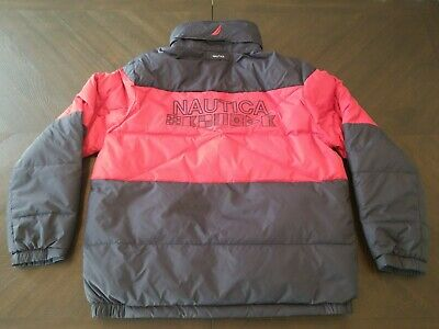 Nautica Down & Waterfowl Puffer Jacket Reversible Hidden Hood Red Blue Sz Large