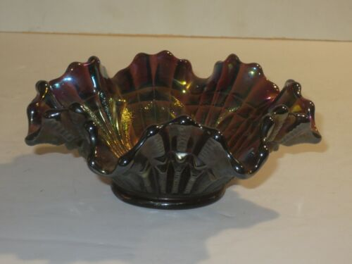 Imperial Scroll Embossed File Amethyst Carnival Glass Fluted Bowl
