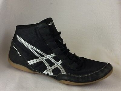 c138859036b84d Asics MATFLEX 5 Mens 10 Med J504N Black Silver High Top Wrestling Shoes  Leather