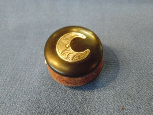 Antique Disc Pin Cushion w/ Sterling Crescent Moon Mount