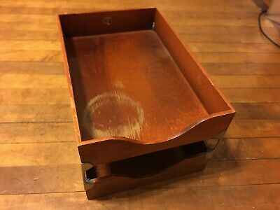Vintage Globe Wernicke Wooden Dovetail Double No.2 Desk Tray Box Paper File