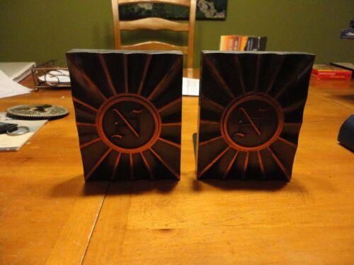 VINTAGE Metal Letter N Bookends Book ends Copper