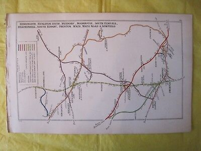 1915 RAILWAY CLEARING HOUSE Junc Diagram No.44 SWINTON,MEXBORO,WATH, HEMSWORTH.